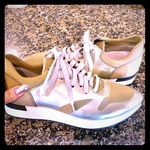 Free people sneakers Green metallic and suede!